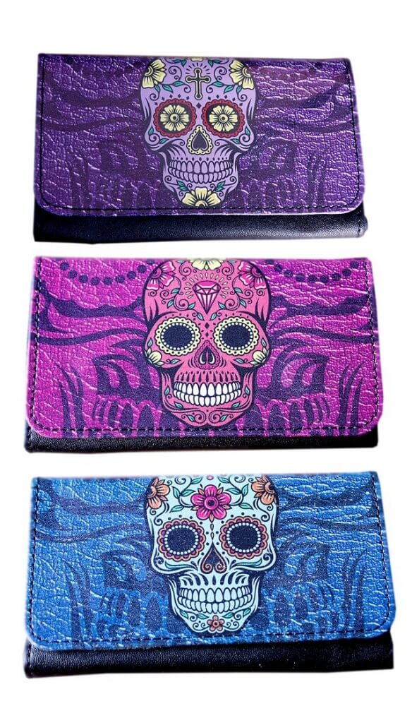 Candy Skulls PU Tobacco Pouch - Holds 25g