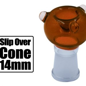 14mm Slip Over Cone Piece Amber