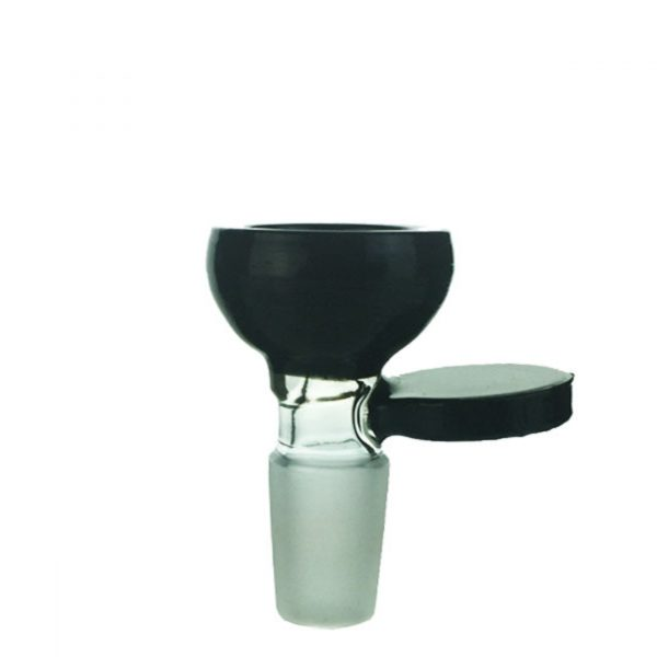 Black Round Male Cone Piece With Holder - Fits 19mm Bong