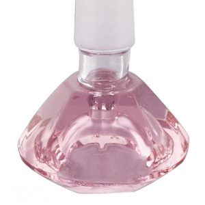 Pink Diamond Shape Male Glass Herb Holder - Fits 14mm Bong