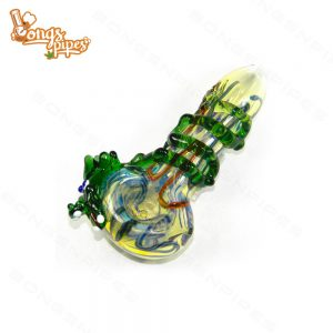 Agung Glass Dry Pipe Green Dragon