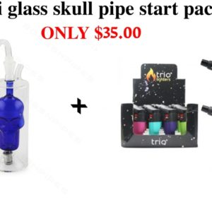 Mini glass skull pipe starter pack