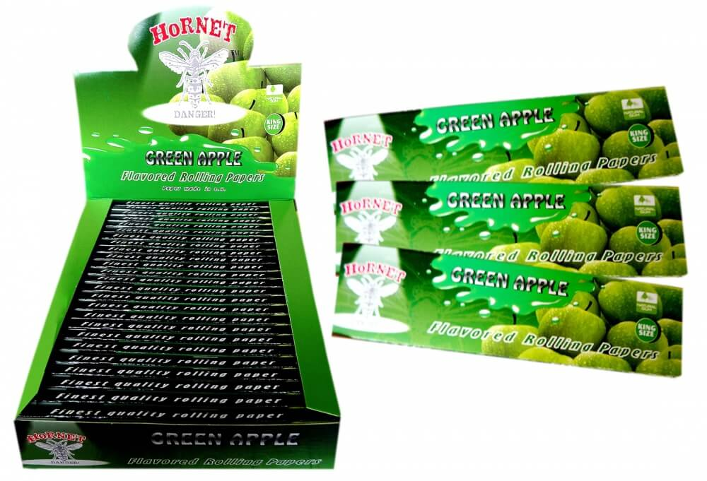 Hornet Rolling Papers King Size - Green Apple Flavour