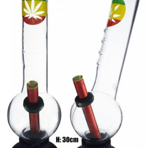 Large Bent Bubble Gripper Rasta Colours With Leaf