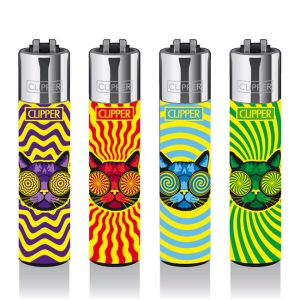 Clipper Refillable Trippy Cats Large