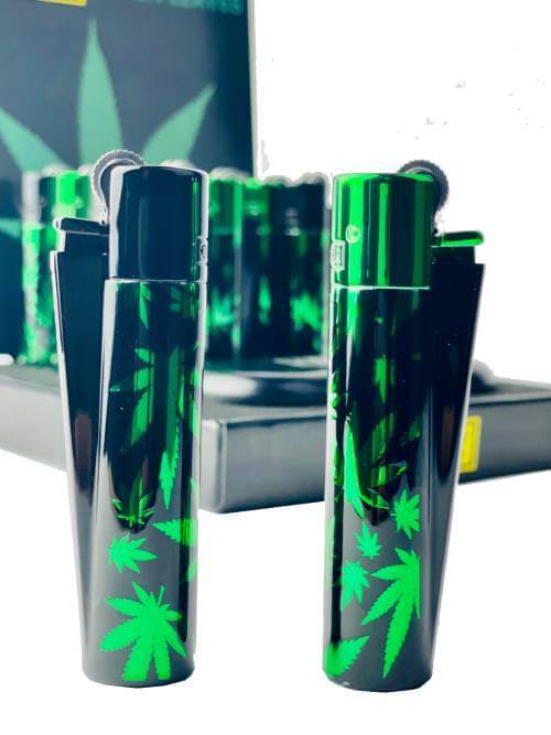 CLIPPER METAL LIGHTERS GREEN LEAVES