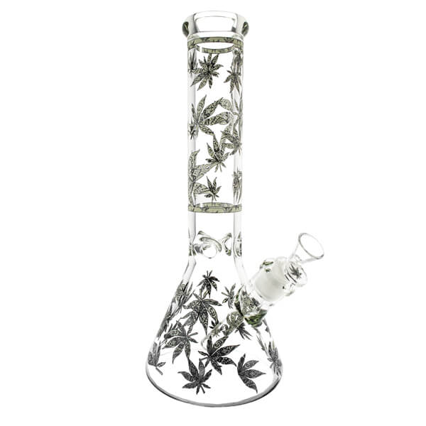 Glow in the Dark Leaf Glass Beaker Bong 35cm 7mm Thickness