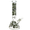 Glow in the Dark Tribe Prints Glass Beaker Bong 35cm 7mm Thickness
